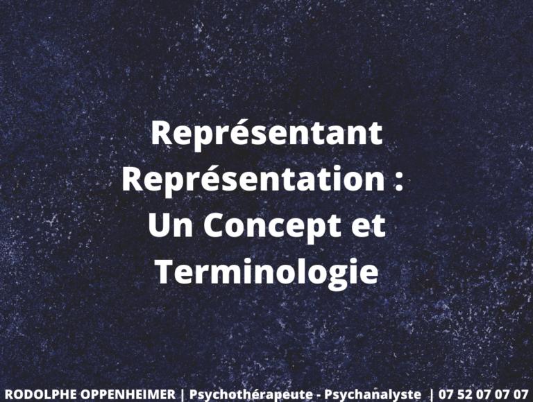 Représentant-Représentation : Un Concept et Terminologie